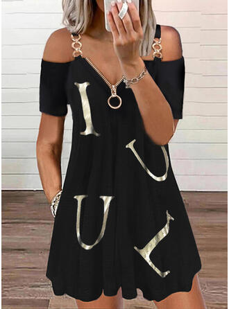 Print/Letter Short Sleeves Shift Above Knee Casual Tunic Dresses