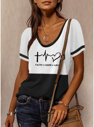 Color Block Heart Print Letter Round Neck Short Sleeves T-shirts