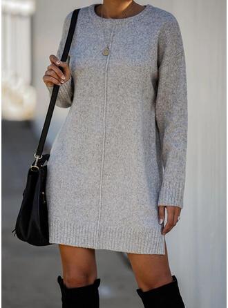 Solide Lange Mouwen Shift Boven de knie Zwart jurkje/Casual Trui Jurken
