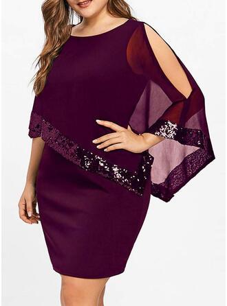 Pailletten/Solide 3/4 Mouwen/Cold Shoulder Mouw Bodycon Boven de knie Zwart jurkje/Feest/Elegant Jurken