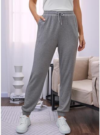Solid Long Casual Pocket Drawstring Pants