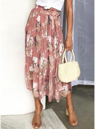 Polyester Chiffon Floral Maxi A-Line Skirts