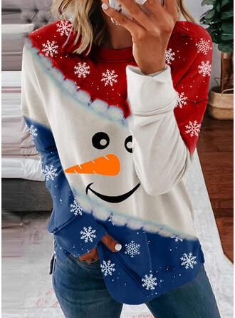 Print Color Block Ronde nek Lange Mouwen Kerst Sweatshirt