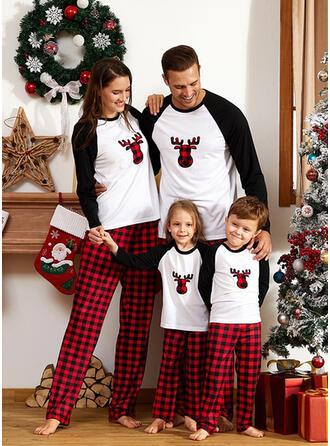 Kleur-Blok Hert Plaid Voor Gezinnen Kerst Pyjamas