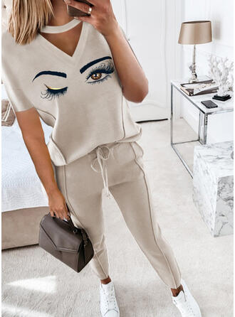 Eye Print Casual Plus Size Blouse & Two-Piece Outfits Set