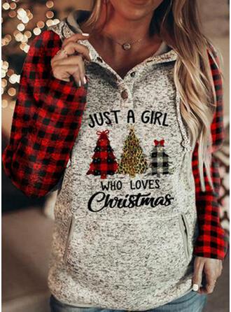 Print rooster Figuur Lange Mouwen Kerst Sweatshirt
