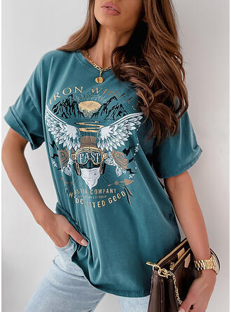Floral Print Letter Round Neck 1/2 Sleeves T-shirts