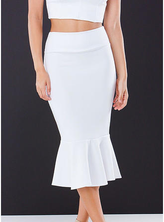 Polyester Plain Mid-Calf Bodycon Skirts