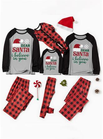 Plaid Letter Print Voor Gezinnen Kerst Pyjamas