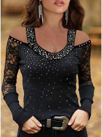 Solid Lace Sequins Cold Shoulder Long Sleeves Elegant Knit Blouses