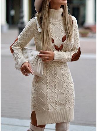 Kleurblok Kabel-gebreid Grof gebreid Coltrui Casual Lang Sweaterjurk