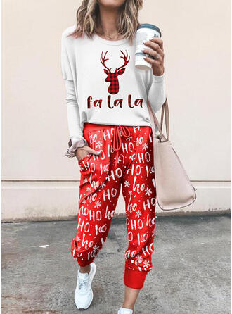 Letter Animal Print Plaid Casual Plus Size Blouse & Two-Piece Outfits Set