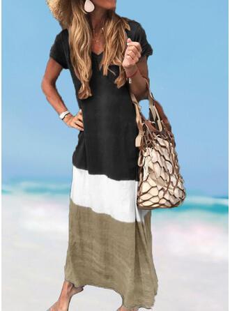 Splice color V-Neck Fresh Plus Size Boho Cover-ups Swimsuits
