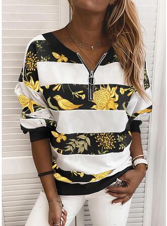 Bloemen Dierenprint V-hals Lange Mouwen Sweatshirts