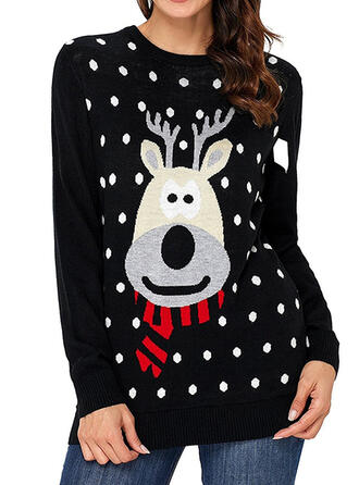 Dames Polyester Rendier Stip Lelijke kerstsweater