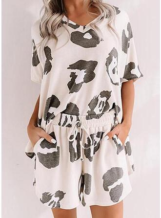 Polyester Spandex kleur Grote maat Ronde Hals Korte Mouwen luipaard Pyjama Set