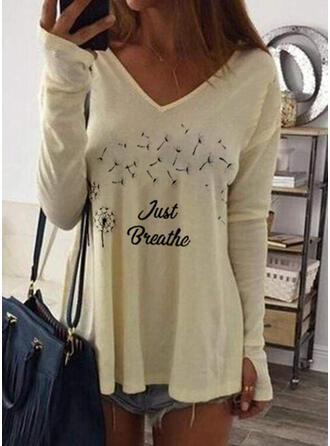 Print Figuur Paardebloem V-hals Lange Mouwen Casual T-shirts