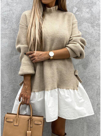 Color Block Stand Collar Casual Long Sweater Dress