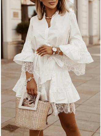 Lace/Solid Long Sleeves/Flare Sleeves A-line Above Knee Elegant Skater Dresses