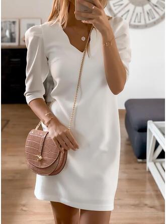 Solid 3/4 Sleeves/Puff Sleeves Sheath Above Knee Little Black/Elegant Dresses