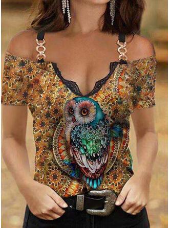 Floral Print Animal Lace Cold Shoulder Short Sleeves T-shirts
