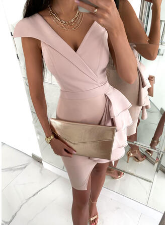 Solid Short Sleeves Sheath Knee Length Sexy/Party Dresses