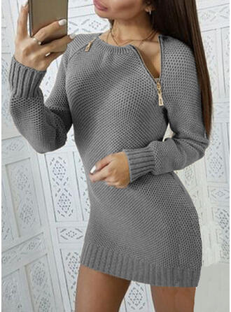 Solide Ronde Hals Casual Lang Sweaterjurk