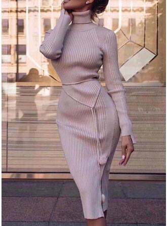 Solide Lange Mouwen Bodycon Trui Casual/Elegant Medium Jurken