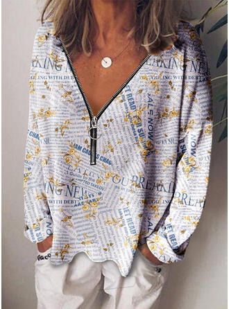 Print V-hals Lange Mouwen Casual Overhemd