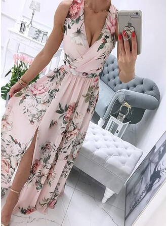 Print/Floral Sleeveless A-line Skater Party Maxi Dresses