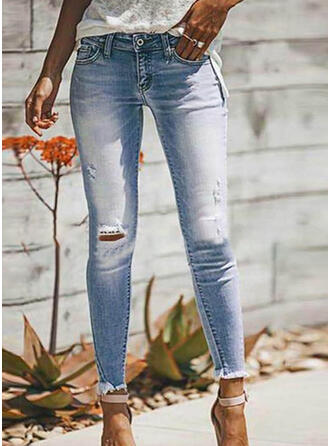 Pockets Shirred Plus Size Ripped Long Sexy Plain Denim & Jeans
