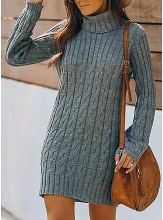 Solide Kabel-gebreid Coltrui Casual Sweaterjurk
