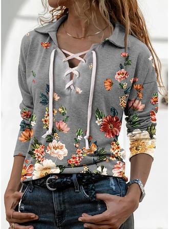 Print Bloemen Revers Lange Mouwen Casual Breiwerk Overhemd