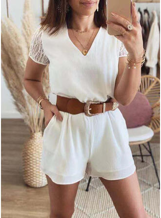 Solid Lace V-Neck Short Sleeves Casual Vacation Romper