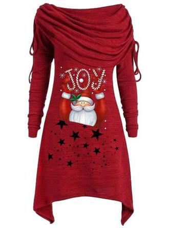 Print Long Sleeves Shift Knee Length Christmas/Casual Tunic Dresses