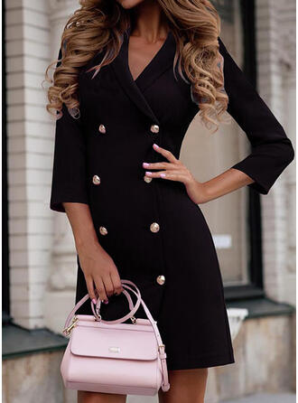 Solid 3/4 Sleeves Bodycon Above Knee Little Black/Casual/Elegant Dresses