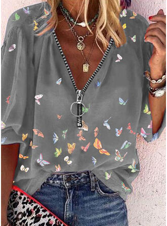 Animal Print V-Neck 3/4 Sleeves Casual Blouses