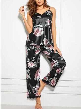 Spandex kleur Kant Bloemen Halster Sexy V-hals Verleidelijk Pyjama Set