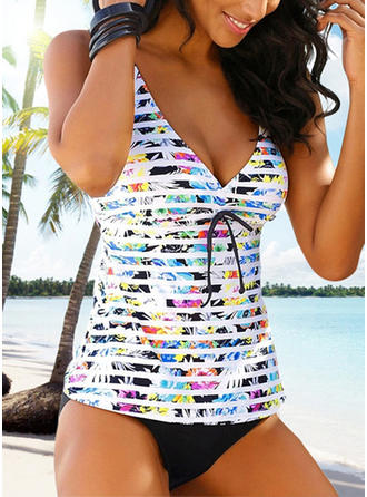 Floral V-Neck Sexy Plus Size Tankinis Swimsuits