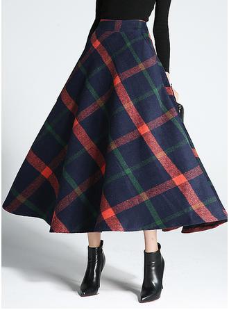 Woollen Plaid Mid-Calf Flared Skirts A-Line Skirts