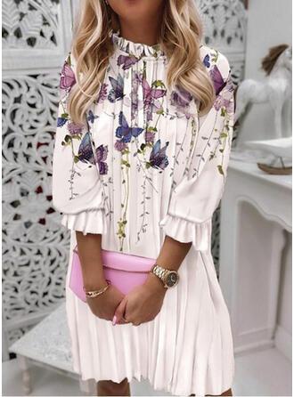Print/Animal 3/4 Sleeves Lantern Sleeve Shift Knee Length Casual Tunic Dresses