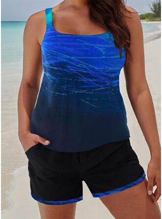 Gradient Strap U-Neck Plus Size Casual Tankinis Swimsuits