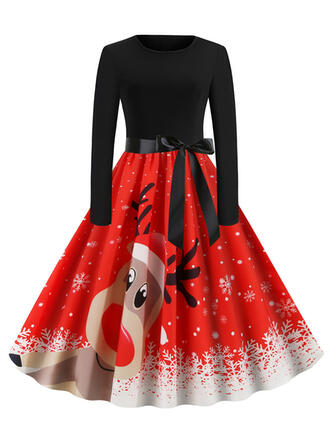 Print/Animal Print Long Sleeves A-line Knee Length Vintage/Christmas/Party/Elegant Skater Dresses