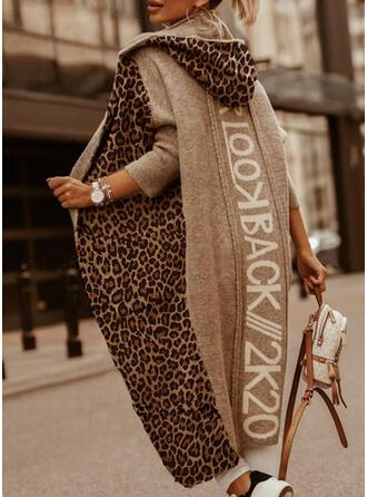 Print Color Block Leopard Hooded Casual Long Cardigan