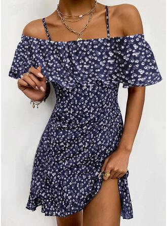Print/Floral Short Sleeves A-line Above Knee Elegant Skater Dresses