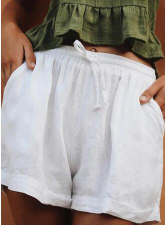 Solid Linen Above Knee Casual Drawstring Pants Shorts