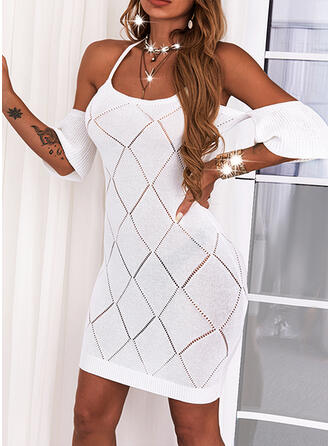 Solid 1/2 Sleeves Cold Shoulder Sleeve Sheath Above Knee Sexy Dresses