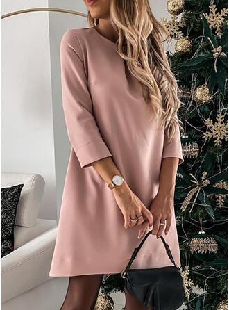 Solid 3/4 Sleeves Shift Above Knee Little Black/Elegant Tunic Dresses