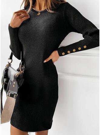 Solide Lange Mouwen Koker Boven de knie Zwart jurkje/Casual Trui Jurken