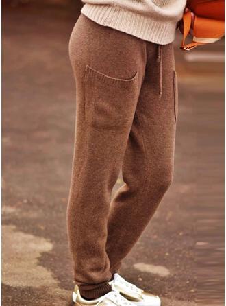 Solid Knit Long Vintage Plus Size Pocket Drawstring Lounge Pants